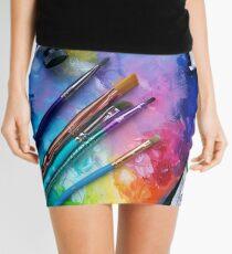 Oil Paints Rainbow Art Mini Skirt