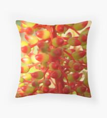 Yellow & Red Coral Flower-(Macro) Throw Pillow