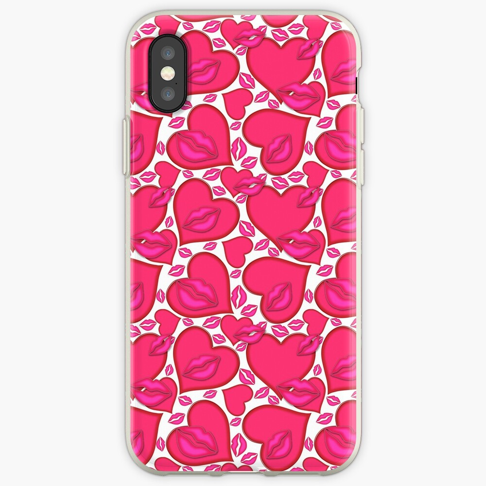 Hearts and Kisses Pattern iPhone Cases & Covers