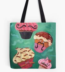 Flying Mustached Cupcakes Tote Bag