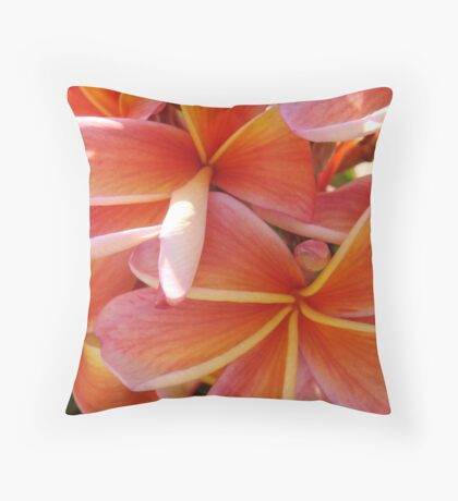 Yellow & Red Coral Flower-(Macro)Red & Orange Frangipani-(Floral Bunch) Throw Pillow