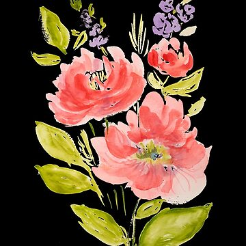 Schöner Aquarellblumenblumenstrauß auf schwarzem Hintergrund von ilzesgimene
