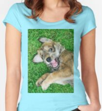 - Giggle - Berger Picard puppy Women's Fitted Scoop T-Shirt