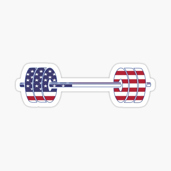 USA flag Barbell Powerlifting Weight Lifting form Sticker