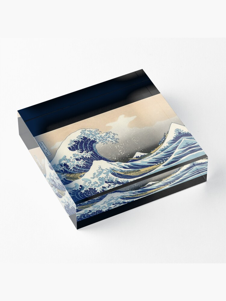 """Alternative Ansicht von """"Die große Welle vor Kanagawa"""" von Katsushika Hokusai (Reproduktion) Acrylblock"""