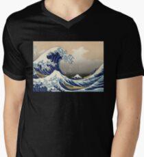 'The Great Wave Off Kanagawa' by Katsushika Hokusai (Reproduction) Men's V-Neck T-Shirt