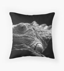 Iguana Up Close in Black and White Throw Pillow