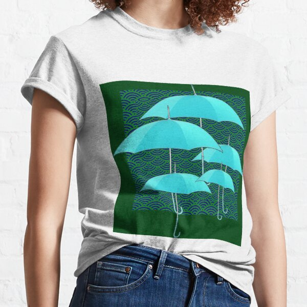 ABSTRACT TURQUOISE UMBRELLAS GREEN ART  Classic T-Shirt