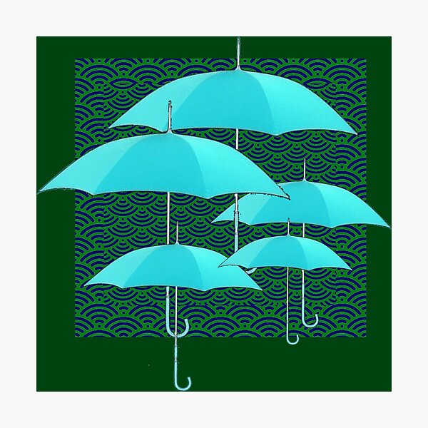 ABSTRACT TURQUOISE UMBRELLAS GREEN ART  Photographic Print