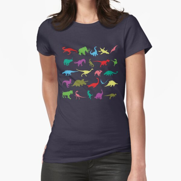 Colorful Mini Dinosaur  Fitted T-Shirt