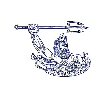 Triton Wielding Trident Drawing Blue by patrimonio