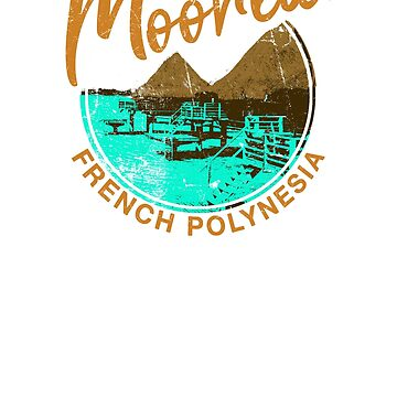 Moorea Over Water Bungalow French Polynesia Retro Travel by IronEcho