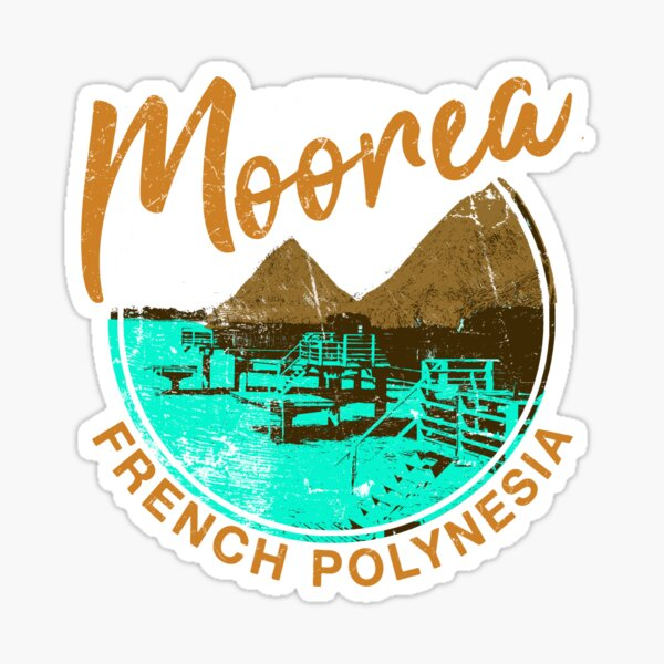 Moorea Over Water Bungalow Polynésie française Retro Travel Sticker