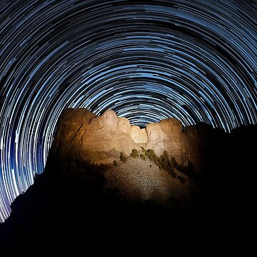 Star trails over Mount Rushmore National Memorial by alex4444