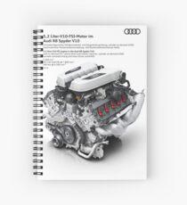 Audi R8 Spyder V10 5.2 Liter FSI Engine Diagram Photographic Print Spiral Notebook
