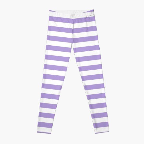 Light Pastel Purple Violet and White Horizontal Stripes Leggings