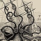 Vintage Kraken attacking ship illustration by monsterplanet
