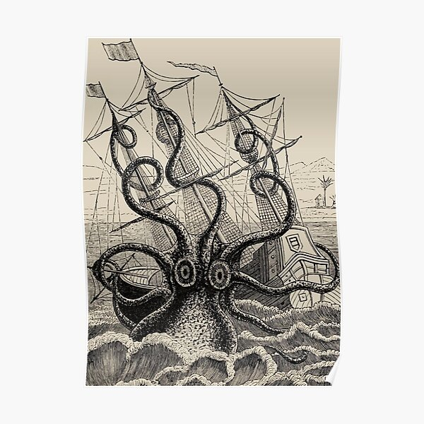 Vintage Kraken attacking ship illustration Poster