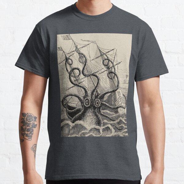 Ilustración de la nave atacando kraken vintage Camiseta clásica
