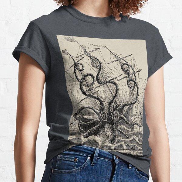 Weinlese Kraken, der Schiffsillustration angreift Classic T-Shirt