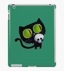 Black Halloween Cat with Skull iPad-Hülle & Klebefolie