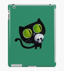 Black Halloween Cat with Skull iPad Case/Skin