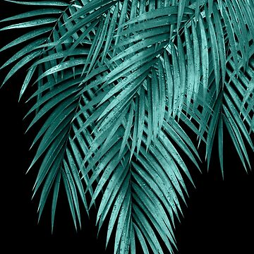 Palm Leaves Teal Night Vibes #1 #tropical #decor #art  by anitabellajantz