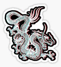 Chinesischer Drachen Glitch Glänzender Sticker