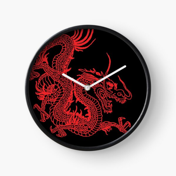 Red Chinese Dragon Clock