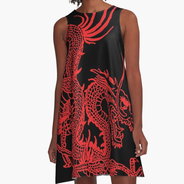 Red Chinese Dragon A-Line Dress