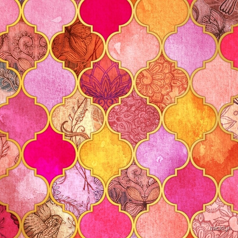 Hot Pink Gold Tangerine Taupe Decorative Moroccan Tile Pattern