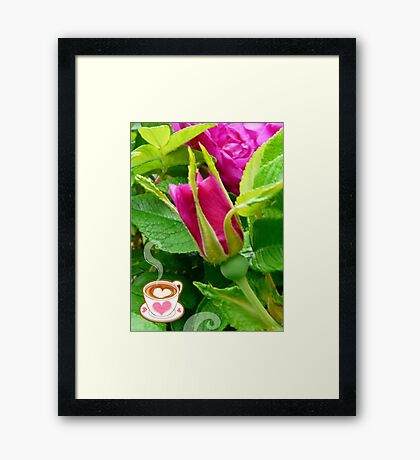 Valentine Rose Bud and a Cup of Hot Chocolate Framed Print