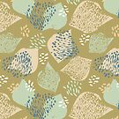 Flock abstract pattern in green gold by SueHalstead