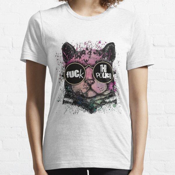 Fuck the police cat Camiseta esencial