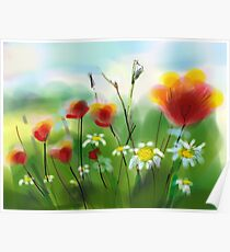 Poppies and Daisies Painting Poster