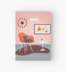 Midcentury Coral Decor With Black Cat And Gold Fish Hardcover Journal