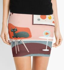 Midcentury Coral Decor With Black Cat And Gold Fish Mini Skirt