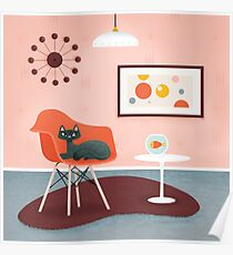 Midcentury Coral Decor With Black Cat And Gold Fish Poster