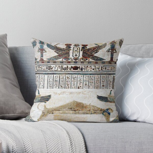 EGYPT. EGYPTIAN. Ancient Egypt. Temple decoration at Dendera. Throw Pillow