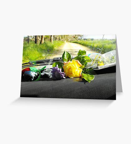 Sunday drive gathering flowers Greeting Card