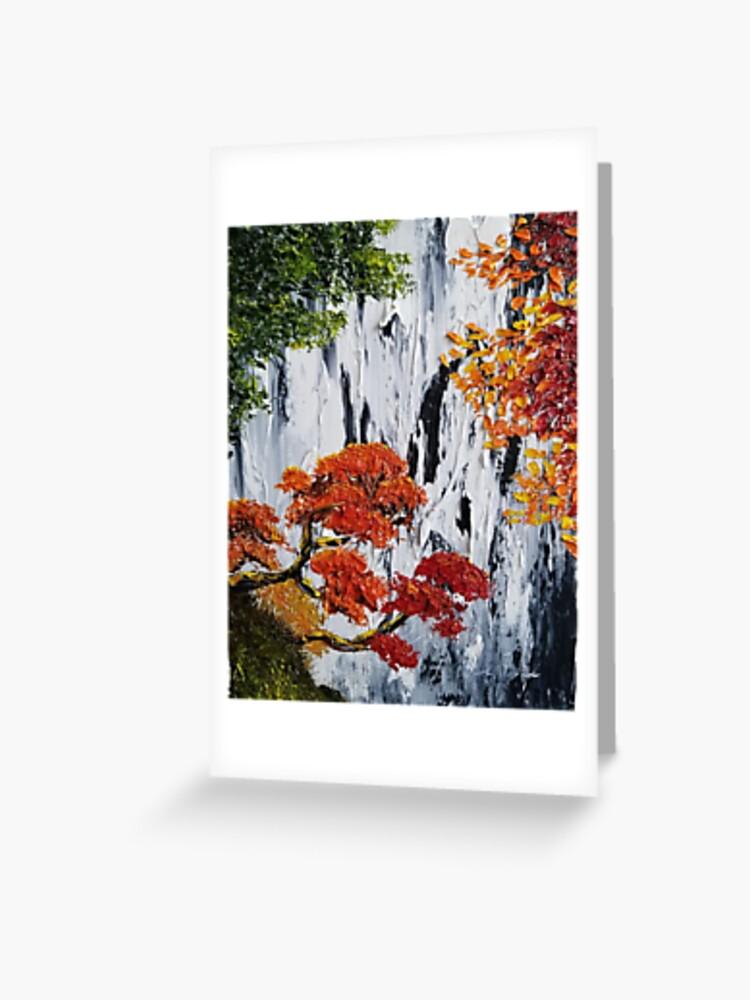 Waterfall Painting Fall Foliage Art Autumn Trees Orange Leaves Waterfall Bag Fall Tote Rustic Decor Rustic Charm Greeting Card By Roxanegabriel Redbubble
