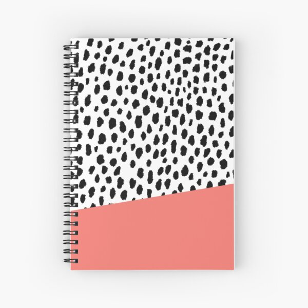 Dalmation Spots with Coral Stripe (Pantone Living Coral) Spiral Notebook
