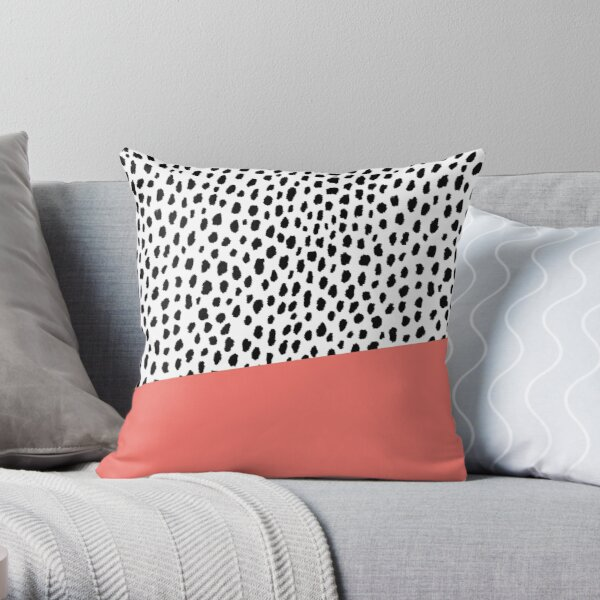 Dalmation Spots with Coral Stripe (Pantone Living Coral) Throw Pillow