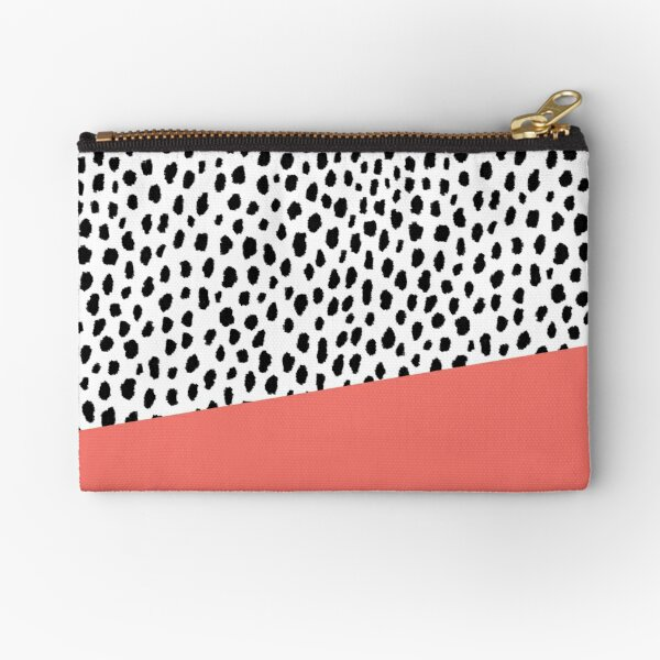 Dalmatian Spots with Coral Stripe (Pantone Living Coral) Zipper Pouch