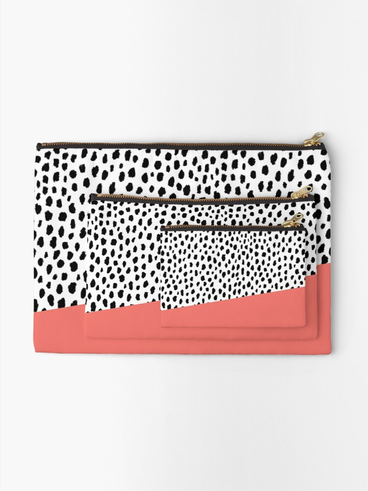 Alternate view of Dalmatian Spots with Coral Stripe (Pantone Living Coral) Zipper Pouch