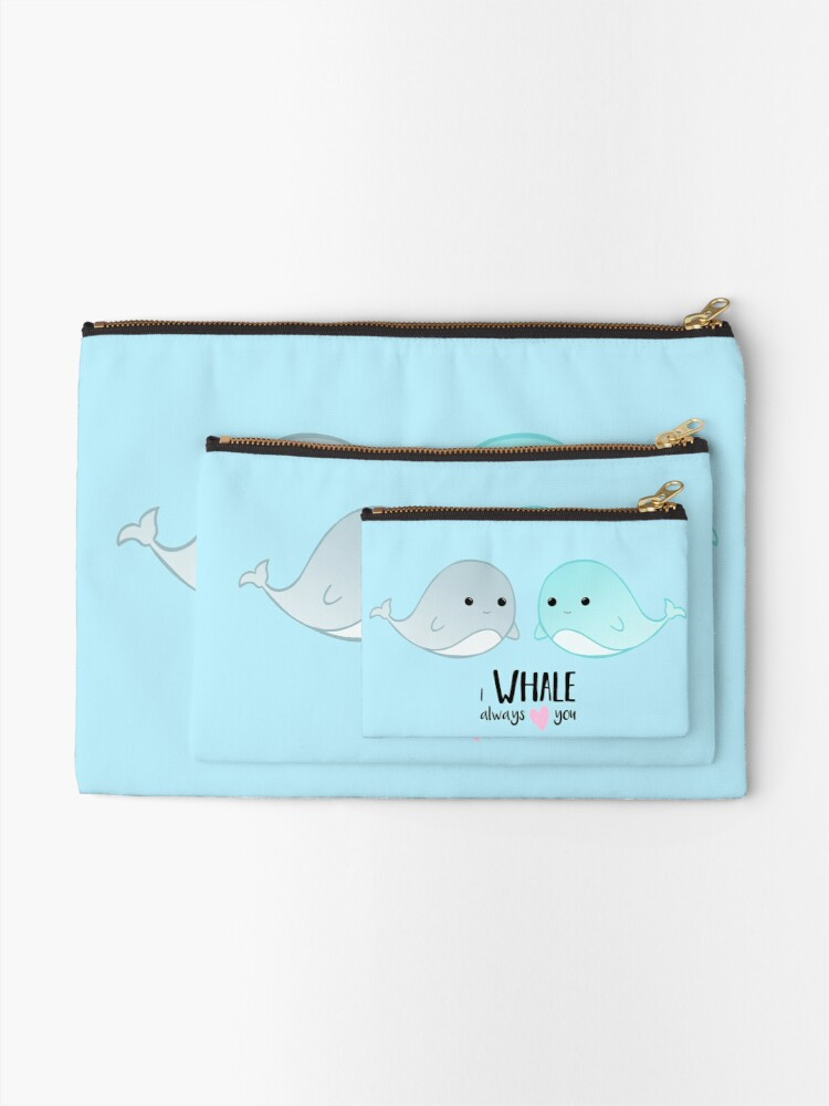 Alternate view of I WHALE always love you - Valentines - Whale Pun - Valentine Pun - Cute - Adorable - Couple - Boyfriend - Girlfriend - Husband - Wife Zipper Pouch