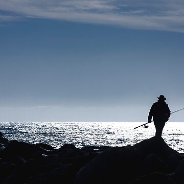 Silhouette of a Lone Fisherman at Morro Bay by Buckwhite