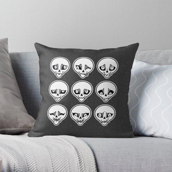 Skull Feels (Grey Version) Throw Pillow