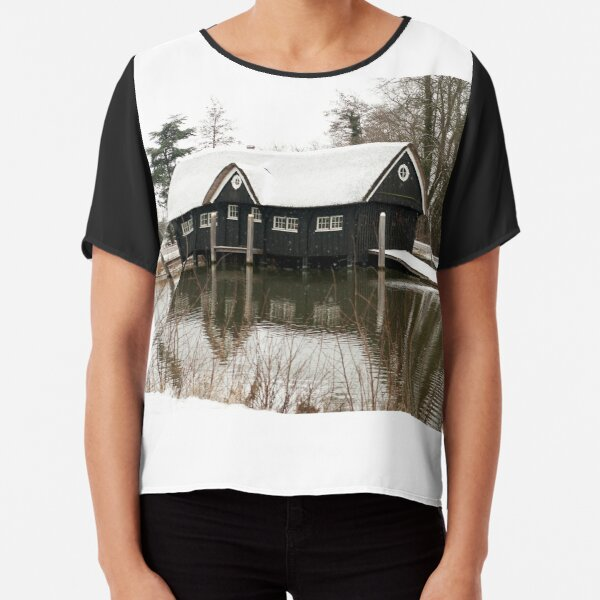 Boathouse in the snow Chiffon Top