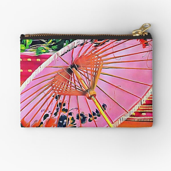 Oriental Pink Parasol Zipper Pouch